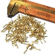 """200pcs #19 x 5/16"""" 1x8mm Tiny Solid Brass Brads Escutcheon Pins Nails Fasteners"""