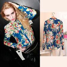 Mujeres Dama Cuello Alto Estampado Floral Manga Larga Blusa De Chifón Camisas