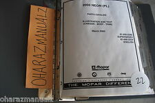 2000 MOPAR Dodge Neon (PL) Parts Catalog Manual