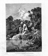 Stampa antica PRATOLINO FIRENZE Statua Colosso 1880 Old print Engraving