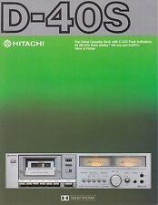 Hitachi D-40S Original Stereo Cassette Deck Brochure