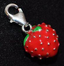 Rouge Fraise Charm Pendentif couleur argent pour bracelet, Chaîne etc.