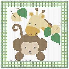 "MONKEY & GIRAFFE Baby Cross Stitch Pattern Chart (10"" x 10"") *EASY*"