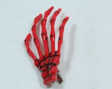 Pair of Skeleton Hand Hair Clip RED Halloween Costume Spooky Creepy