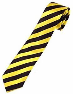 BLACK & GOLD STRIPED TIE FOOTBALL RUGBY PRESENTATION SCHOOL GIRL FANCY DRESS