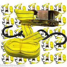 "24pc 1""X15' Ratcheting Tie Down Cargo Straps Moving Truck Bed Motorcycle Hauling"