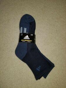 NWT Men's Adidas Performance Quarter Socks 3 Pair Blue