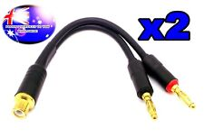 From OZ Quality 2PC RCA Female Socket To 2 Banana Male Plug Adapter Cable + F.P!