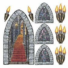 Medieval Dungeon Castle DOOR window torch props Halloween Scene Setter Backdrop