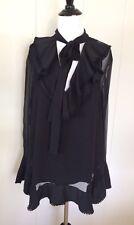 CHLOE Black Long Sleeve Sheer Blouse Ruffled Collar Silk Women's Size 40
