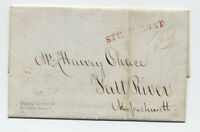 1834 Providence RI stampless folded letter steamboat to Fall River [y6011]
