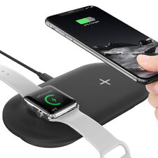2-in-1 QI Wireless Charger Pad Fast Charging Dock For iPhone 11 XR Samsung Watch