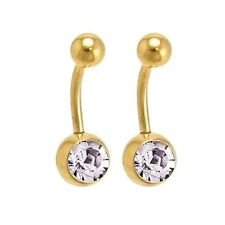 2 PC LOT 14G 14K GOLD PLATED SINGLE CZ GEM BELLY BUTTON NAVEL RING BODY PIERCING