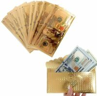 10 PCS 100 Dollar Bill Envelopes  Money Gold Foil Plated Banknote  Novelty Gift