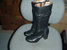 Ladies size 5 leather mid calf boots with zip