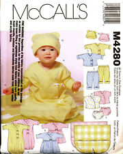 McCalls Sewing Pattern 4280 Baby S-xl Dress Jacket Sleeping Bag Gown Pants Hat