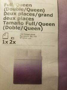 IKEA Strandtrift Double Queen Duvet COVER Set Lilac White Ombre 2 Pillowcase NEW