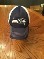 Seattle Seahawks NFL Team Apparel Cap Hat Adjustable Strapback Blue & White Mens
