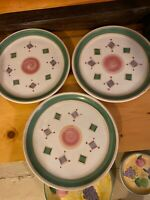 "3 CALECA ITALY PAINTED SIGNED POTTERY BELVIDERE 11"" DINNER PLATES"