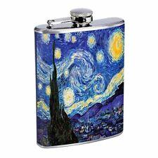 Vincent Van Gogh Starry Night Flask D141 8oz Stainless Sun Stars Hilltop Village