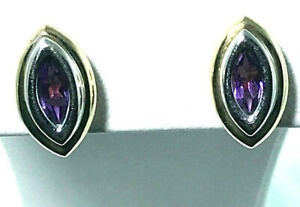 9k Marquise cut Amethyst Stud Earrings_375 yellow and white gold two tone