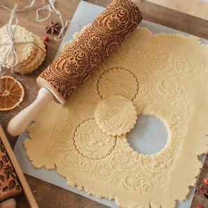 Embossing Rolling Pin Wooden Christmas Baking Flower Embossed Cookies Dough