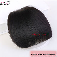 100% Human Hair False Bangs Neat Fringe Hairpiece Clip In Fringe Front Hairpiece