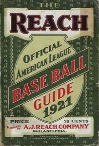 1921 Reach Official American League Baseball Guide, 432 pages - EX++