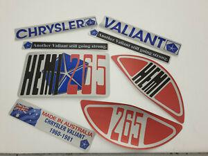 "Chrysler Valiant Mopar Dodge : HEMI 265 ""SILVER SERIES"" decal set of 8"