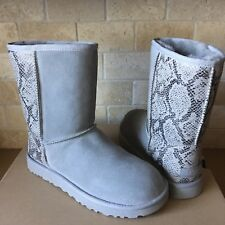 UGG Classic Short Metallic Snake Silver Suede Sheepskin Boots Size US 9 Womens