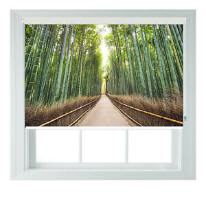 Japan Bamboo Forest Printed Photo Black Out Roller Blinds 2 3 4 5 6ft