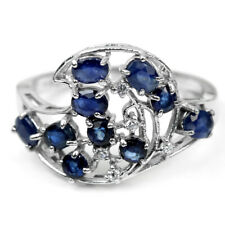 GENUINE BLUE SAPPHIRE OVAL ROUND & WHITE CZ STERLING 925 SILVER RING SIZE 7.75