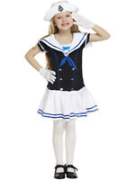 Child Kids Girls Traditional New Retro Sailor Navy 4-12 Yrs Fancy Dress Costume