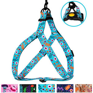Nylon Step in Dog Harness for Walking Small Medium Large Dogs Heavy Duty Flower