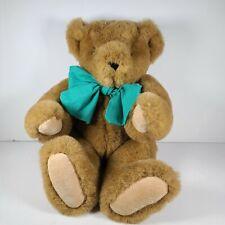 Vtg The Vermont Teddy Co Bears Plush Jointed Bear Poseable Aqua Blue Bow 1994