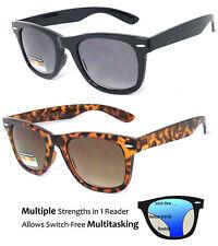 Square Frame Multi Focus Progressive Reading Sunglasses 3 Strengths in 1 Reader
