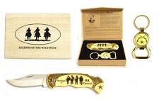 """""""OK Corral"""" Legends of The Wild West Folding Knife with Keyring Bottle Open"""