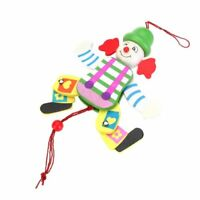 Wooden Clown Pull String Toy Arms Legs Go Up and Down Kids Toy M2B9