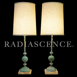 PAIR FRENCH COUNTRY NEOCLASSIC COPPER MARBLE HOLLYWOOD REGENCY MODERN TABLE lamp