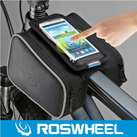 ROSWHEEL Bike Bicycle Frame Pannier Front Tube Bag Head Top Tube Bag Black 5.0""
