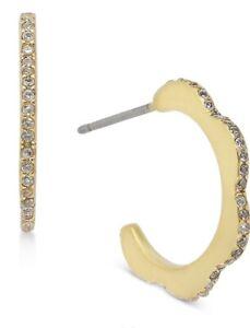 $48 Kate Spade Pave Slender Scalloped Mini Hoop Earrings - Gold  Tone A301