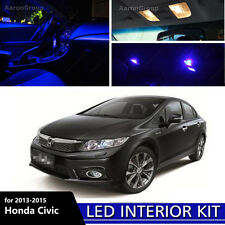 6PCS Blue Interior LED Light for 2013 - 2015 Honda Civic White for License Plate