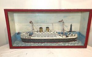 LARGE high quality antique handmade Folk Art Orontes model ship sculpture Aussie