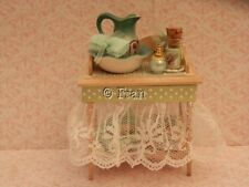 Dolls house : 1/12th Shabby chic green themed  wash stand   -By Fran