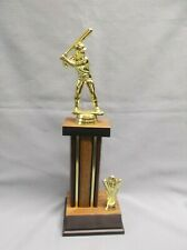 male batter baseball trophy heavy wood column weighted base theme side trim