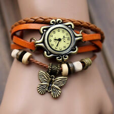Women Charm Vintage Butterfly Bracelet Faux Leather Quartz Wrist Watch Orange JP