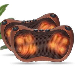 Electric Lumbar Neck Back Massage Pillow Kneading Cushion Heat Home Car (8 head)