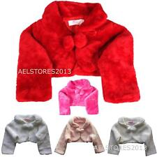 Girls 3/4 Sleeve Fur Special Occasion Bolero Pom Pom Ribbon Fastening 0-12 Years