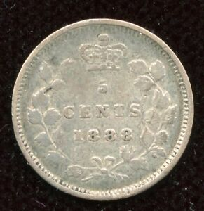 1888 Canada Silver 5-Cents - Nice Coin
