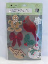 NEW K&COMPANY TIM COFFEY CHRISTMAS FELT 7 STICKERS SNOWMAN GINGERBREAD 30-666603